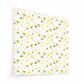 Fond de hotte avec motif de colibris jaunes et verts