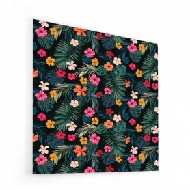 Fond de hotte noir avec feuillage et fleurs tropicales colorées