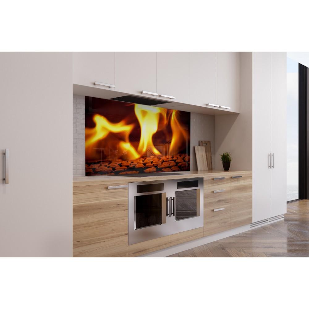 fond de hotte feu flamme orange verre et alu credence. Black Bedroom Furniture Sets. Home Design Ideas
