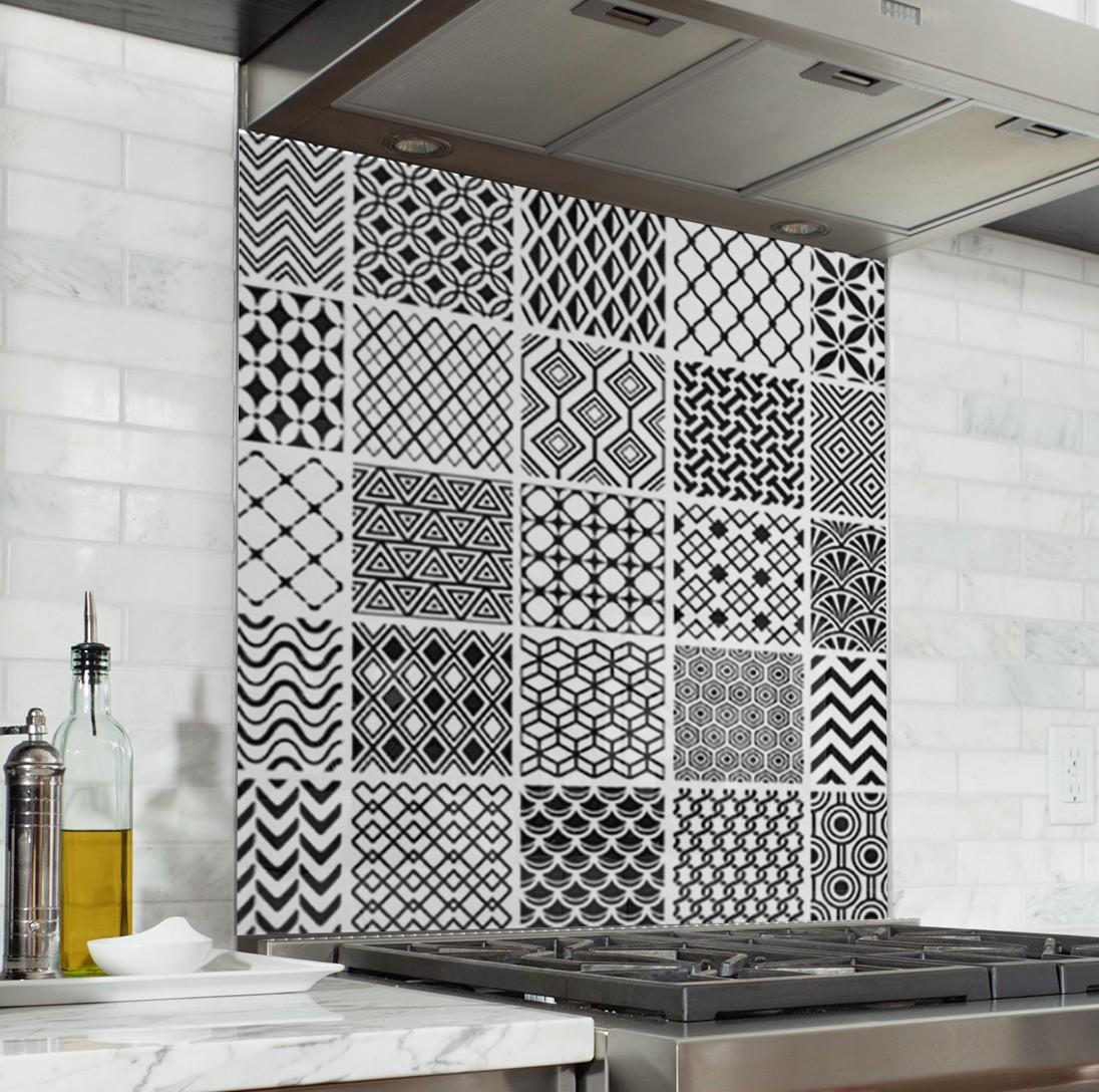 """Crédence Effet Carreau De Ciment fond de hotte de cuisine """"carreaux de ciment style géométrique"""""""