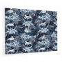 Fond de hotte bleu marine, effet jungle avec flamants bleus