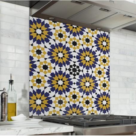 Fond de hotte avec motif fleurs géométriques vintage jaune et bleu
