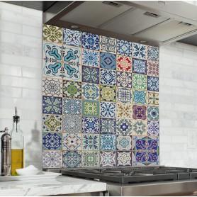Fond de hotte effet carreaux de ciment multicolores