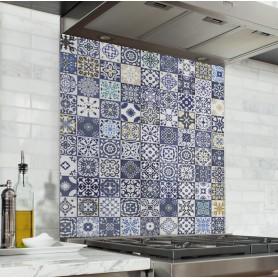Fond de hotte effet carreaux de ciment mosaïque bleu et jaune