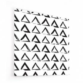Fond de hotte blanc avec motif peinture triangles noirs
