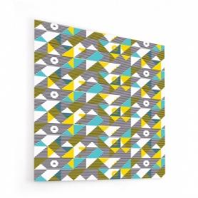 Fond de hotte géométrique jaune, bleu, rayures noir et blanc, style scandinave