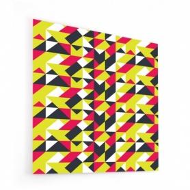 Fond de hotte géométrique noir, anis et framboise, style scandinave