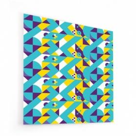 Fond de hotte géométrique violet, bleu et anis, style scandinave