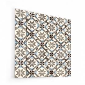 Fond de hotte effet carreaux de ciment taupe et bleu clair