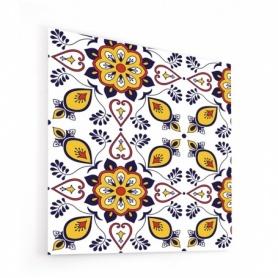 Fond de hotte blanc avec motifs russes jaune, violet, orange