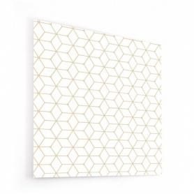 Fond de hotte blanc avec cubes dorés, effet scandinave et nordique