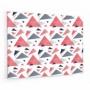 Fond de hotte effet scandinave avec triangles bleus et roses