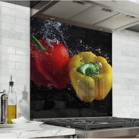 Fond de hotte poivrons jaune rouge verre alu credence cuisine deco - Deco cuisine jaune et rouge ...