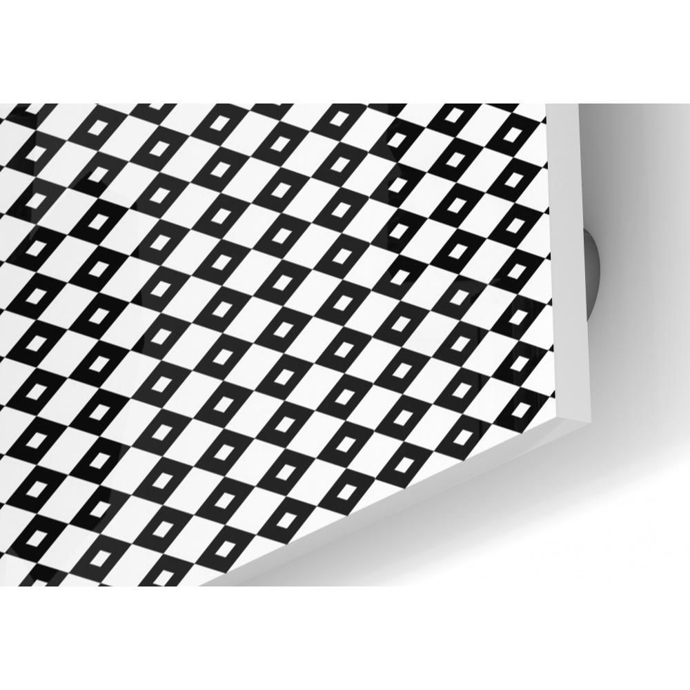 Frise Murale Damier Noir Et Blanc fond de hotte losange rétro noir et blanc - verre & alu