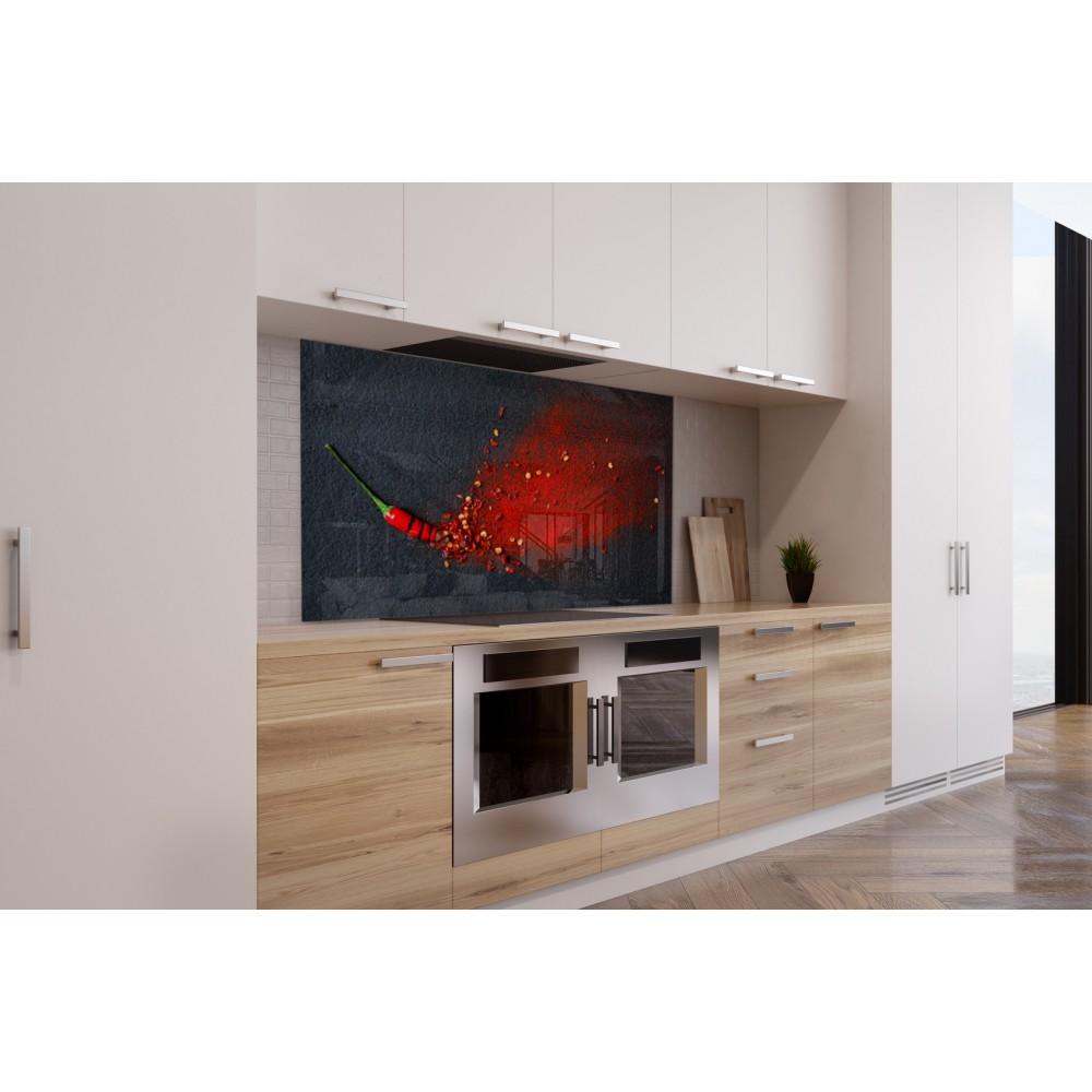 fond de hotte poudre piment rouge verre alu credence. Black Bedroom Furniture Sets. Home Design Ideas