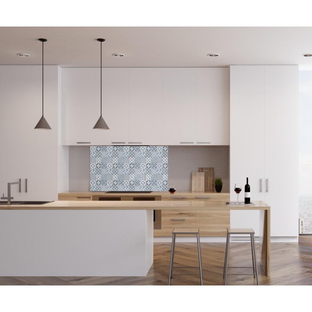 fond de hotte carreaux de ciment bleu adh sif. Black Bedroom Furniture Sets. Home Design Ideas