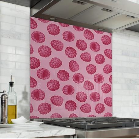 Fond de hotte rose avec motifs framboises