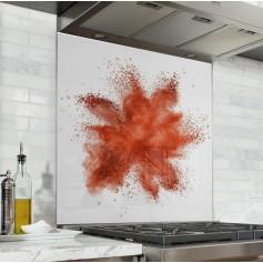 """Fond de hotte de cuisine """"Explosion de poudre rouge"""""""