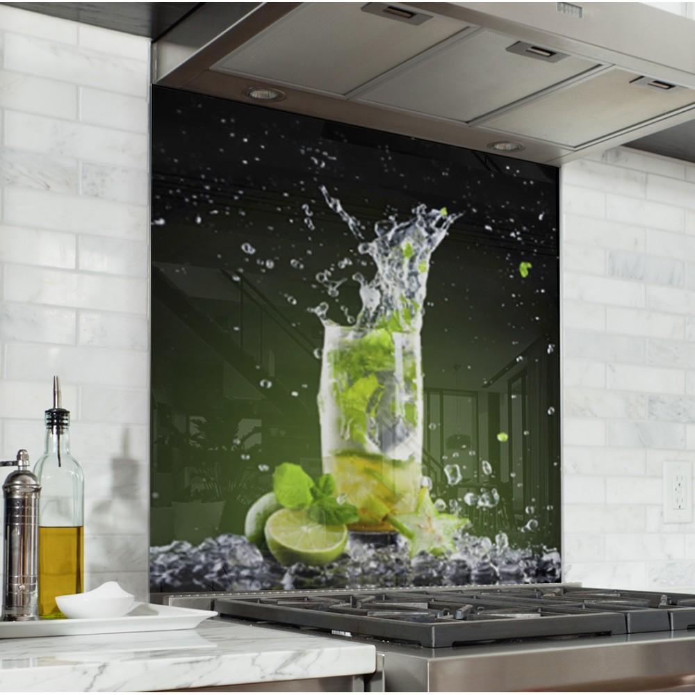Fond de hotte cocktail mojito verre et alu credence Fond de cuisine
