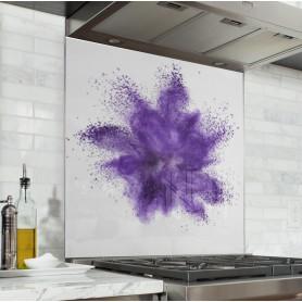 Fond de hotte poudre violette verre et alu credence cuisine deco - Deco cuisine violet ...