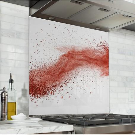 Fond De Hotte Poussiere Rouge Verre Et Alu Credence Cuisine Deco