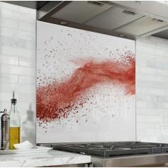 """Fond de hotte de cuisine """"Explosion de poudre rouge fond blanc"""""""