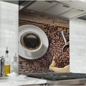 """Fond de hotte de cuisine """"Sac de grains de café"""""""