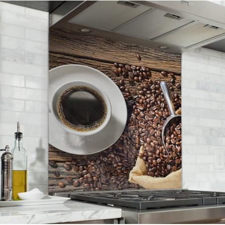 Fond de hotte sac de grains de café et tasse de café