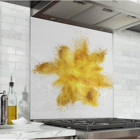 Fond de hotte blanc avec explosion de poudre jaune