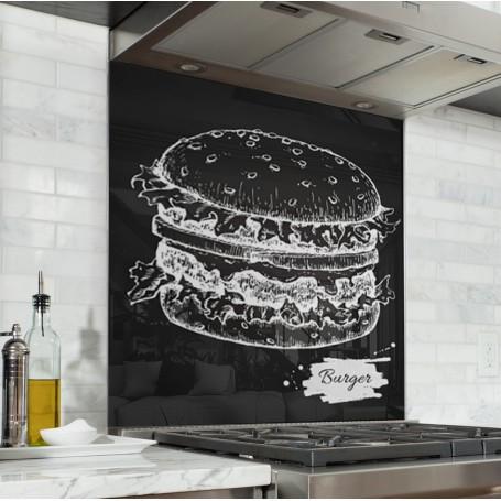 Fond de hotte noir avec dessin burger blanc