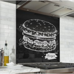 "Fond de hotte de cuisine ""Burger vintage collection"""