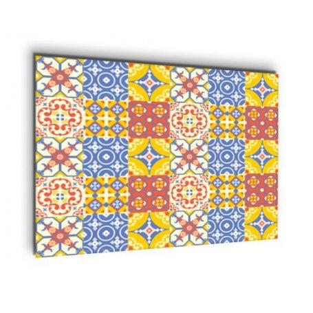 Credence carreaux ciment bleu jaune et rouge cr dence cuisine deco - Deco cuisine jaune et rouge ...