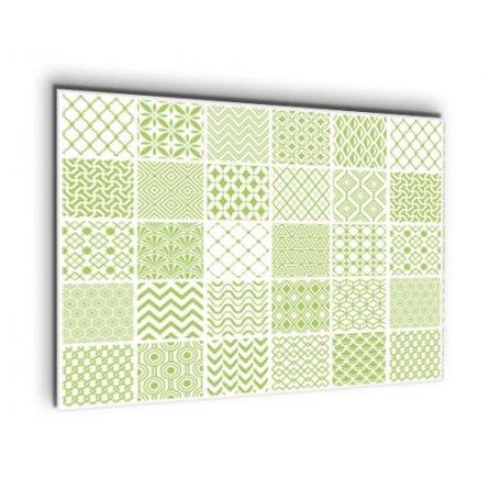 Credence de cuisine carreaux de ciment géométrique vert