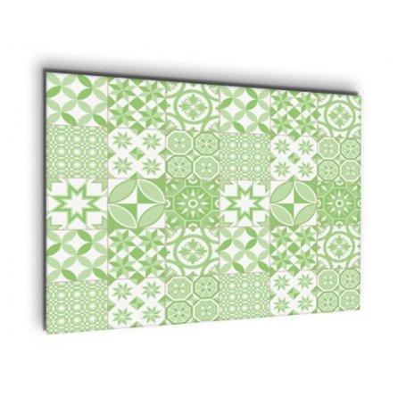 Credence cuisine carreaux de ciment motif géométrique vert