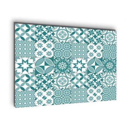 Credence cuisine carreaux de ciment motif géométrique bleu vert