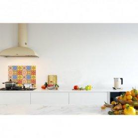 Credence de cuisine carreaux de ciment bleu jaune rouge