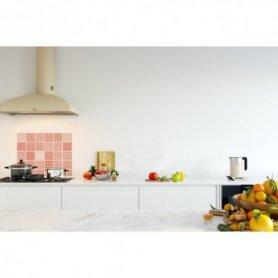 Credence de cuisine carreaux de ciment géométrique orange