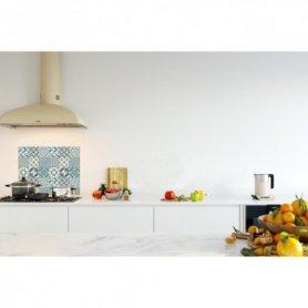 Credence cuisine carreaux de ciment motif géométrique bleu ciel