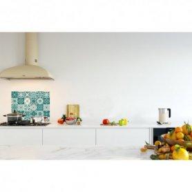 Credence de cuisine carreaux mosaïque bleu vert