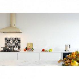 Credence de cuisine carreaux mosaïque noir intense