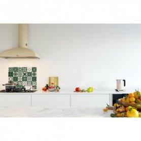 Crédence de cuisine carreaux mosaïque vert feuille