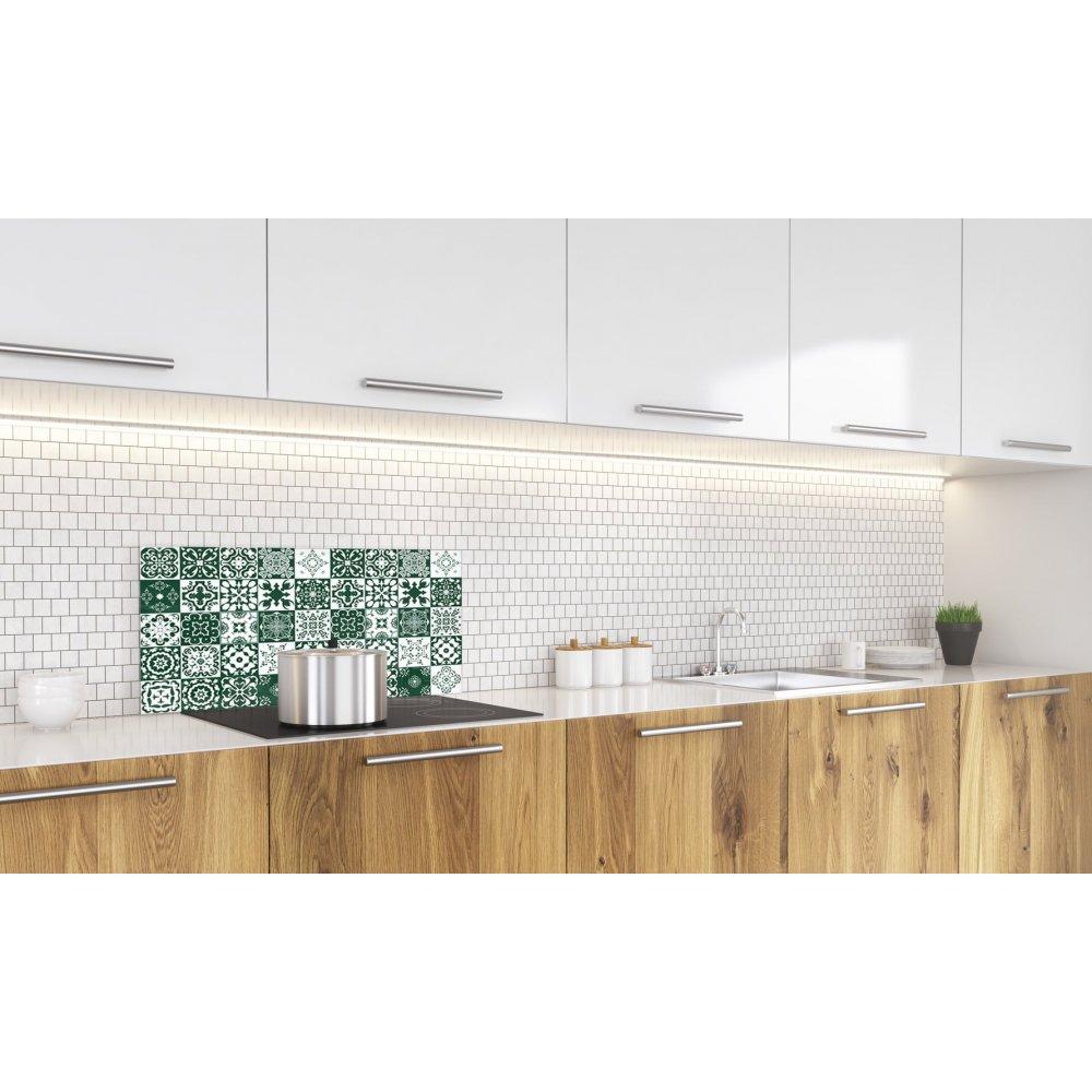 Cr dence de cuisine carreaux mosa que vert feuille verre aluminium - Credence cuisine mosaique ...