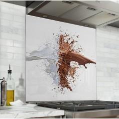 """Fond de hotte de cuisine """"Explosion de lait"""""""