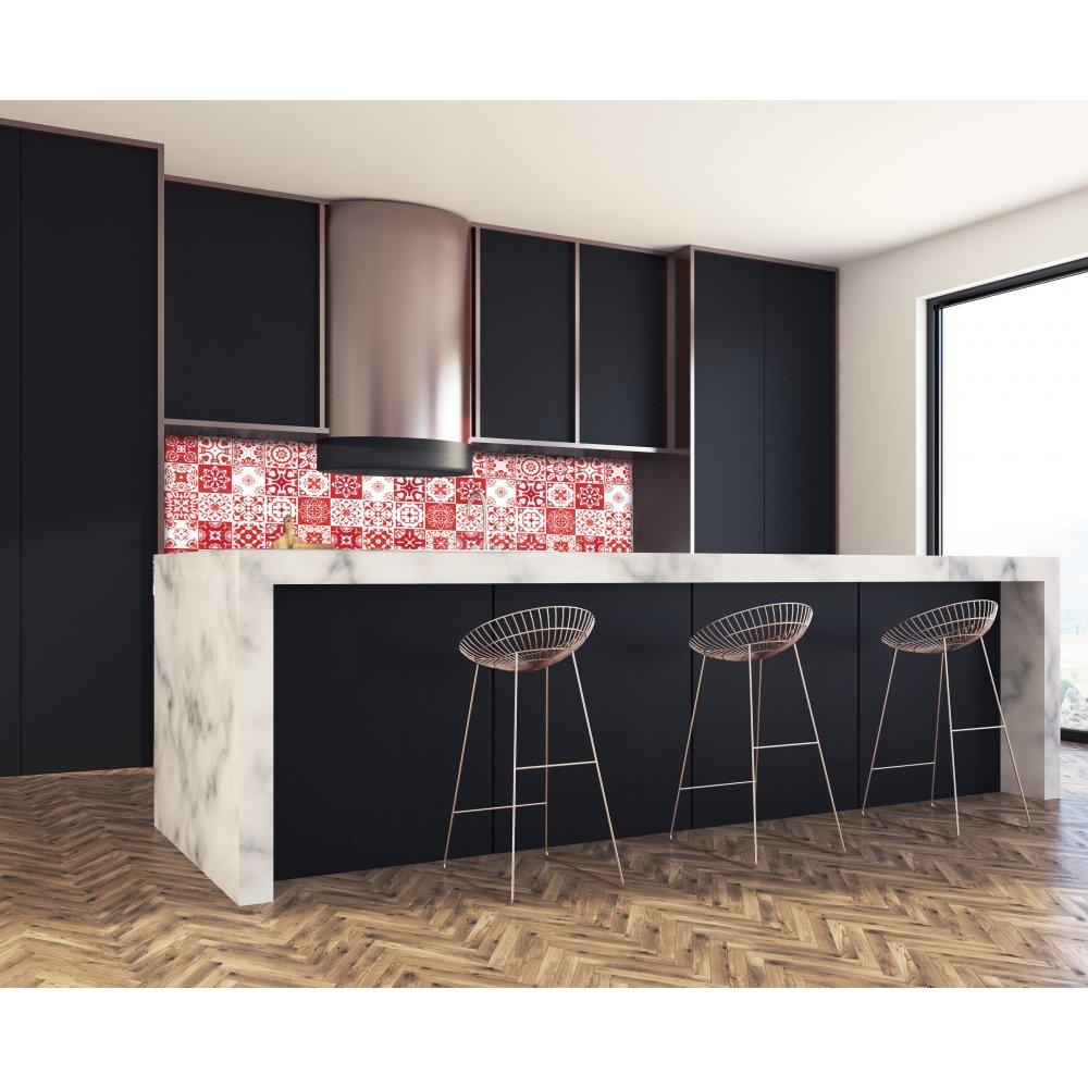 cr dence de cuisine carreaux de ciment mosa que rouge verre alu. Black Bedroom Furniture Sets. Home Design Ideas