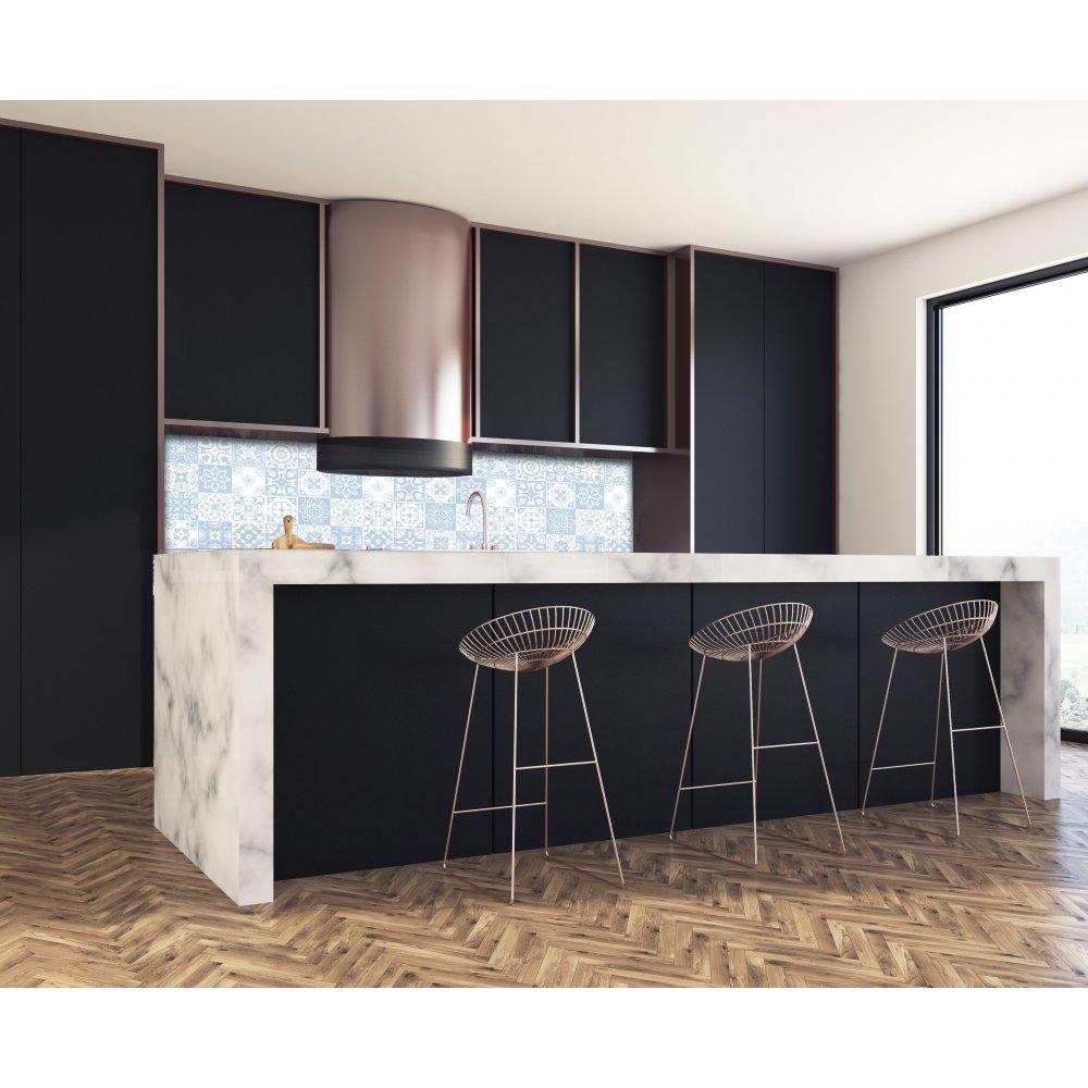 cr dence de cuisine carreaux mosa que bleu matelot verre aluminium. Black Bedroom Furniture Sets. Home Design Ideas