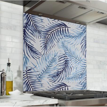 Fond de hotte avec motifs fougères bleues ciel et marine