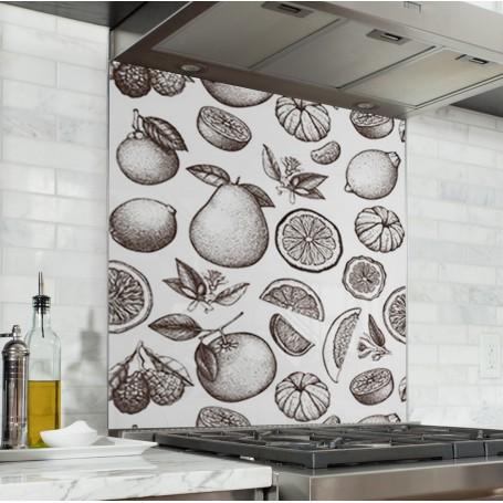 Fond de hotte blanc avec motif fruits vintage