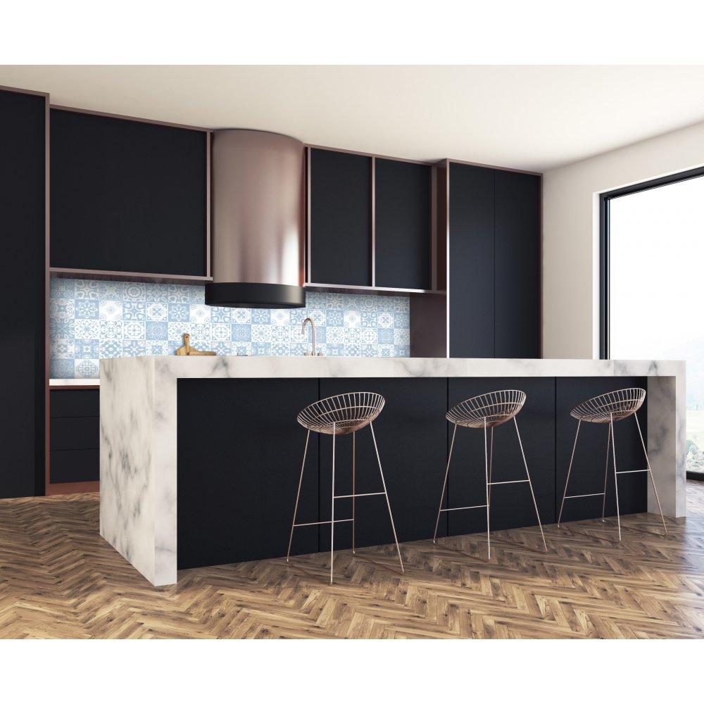Cr dence de cuisine carreaux mosa que bleu matelot verre aluminium - Credence cuisine mosaique ...