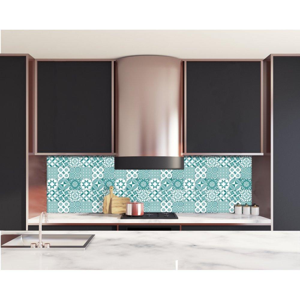 cr dence de cuisine motif g om trique bleu vert verre et alu. Black Bedroom Furniture Sets. Home Design Ideas