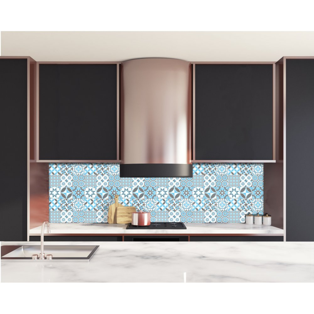 cr dence de cuisine motif g om trique bleu ciel verre alu d co. Black Bedroom Furniture Sets. Home Design Ideas